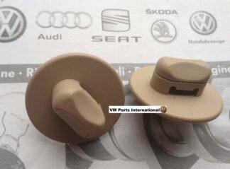 Volkswagen Audi Seat Skoda Floor Foot Mat Carpet Screw in Clips Beige Oval Genuine New OEM VW Parts