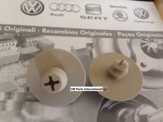 Volkswagen Audi Seat Skoda Floor Foot Mat Carpet Screw in Clips Beige Round Genuine OEM VW Parts