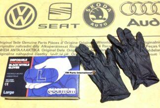Black Disposable Gloves Powder Free Nitrile Large New Quantum VW Parts
