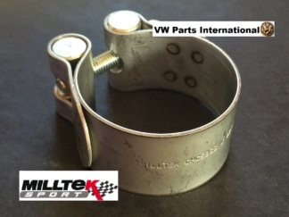 MILLTEK Sport Exhaust Tail Tip De Cat Pipe Clamp Ø83mm Golf GTI R R32 Scirocco Polo T4 T5