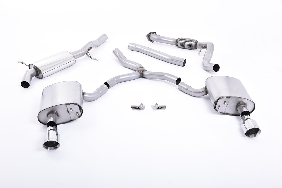 Audi A4 2.0 TFSI Quattro B9 MILLTEK Sport Cat Back Exhaust Dual Polished GT100 Tips Road+ Part Resonated