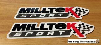 Official Milltek Sport Decal Sticker 2x medium 180mm Black