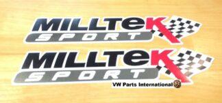 Official Milltek Sport Decal Sticker 2x large 380mm Black VW Audi Seat Skoda R R32 TSI TFSI TDI