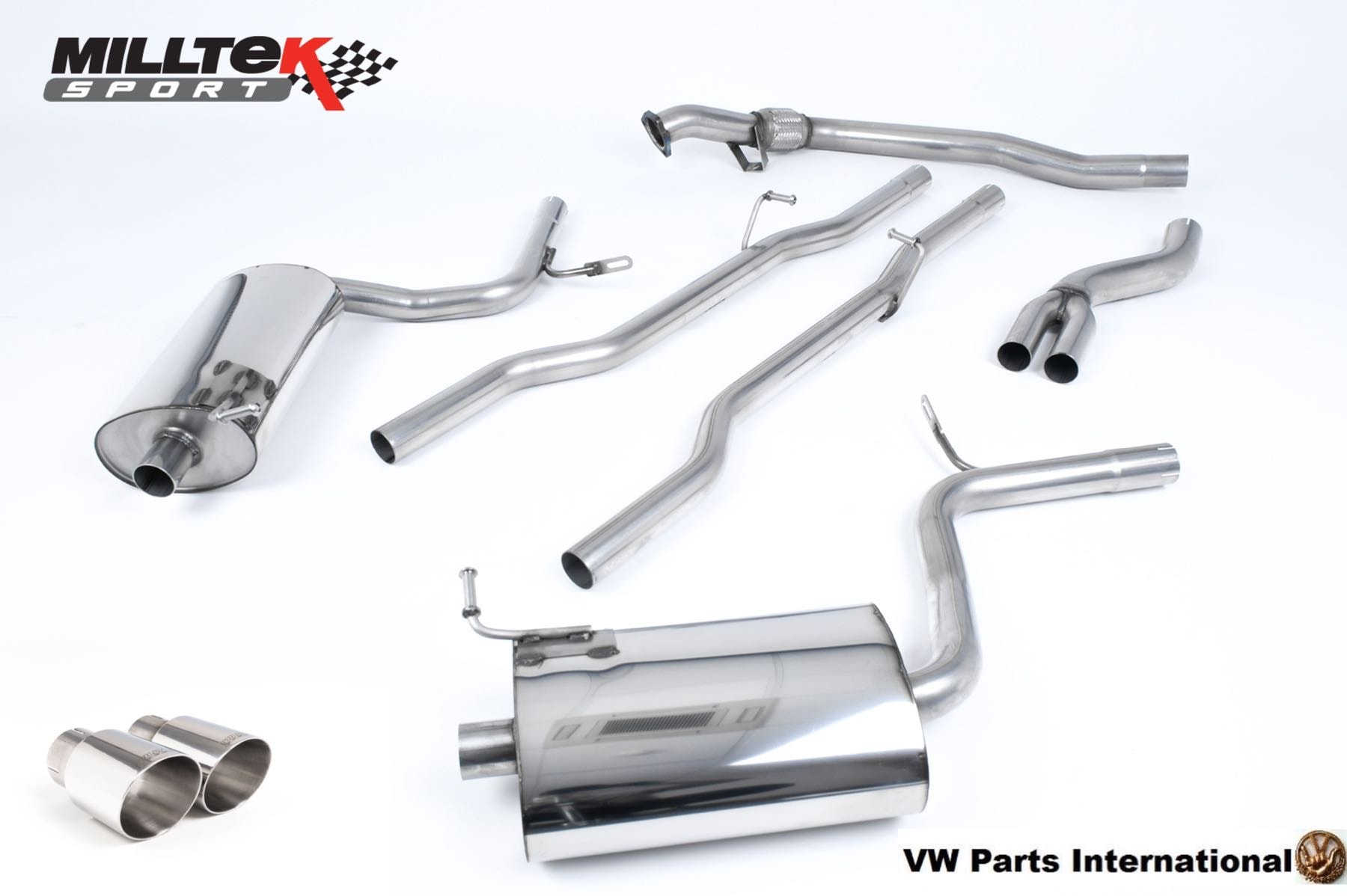 Audi A4 1.8T Quattro Milltek Sport Non Resonated Cat Back Exhaust System with GT90 90mm Detachable Trims SSXAU509
