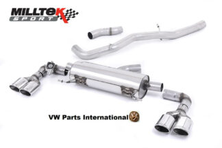 Audi S1 2.0 TFSI Quattro Milltek Sport Non Resonated Cat Back Exhaust System Quad Polished Oval Tips SSXAU491