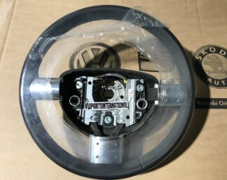 VW New Beetle RSI Black Leather Steering Wheel with Silver Trims Genuine OEM NOS Part