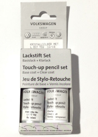 Crystal Silver Krystall LY7T Genuine VW Touch Up Paint Audi Seat Skoda Scratch Stone Chip Repair