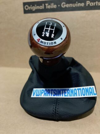 VW Passat B5 Saloon Variant 5 Speed 4Motion Wood Gearknob with Black Leather Gaitor New Genuine OEM NOS Part