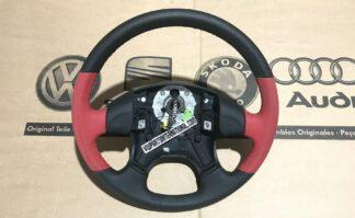 VW Golf MK3 VR6 GTI TDI Vento Black Leather Steering Wheel with Red Trim New Genuine OEM VW Part