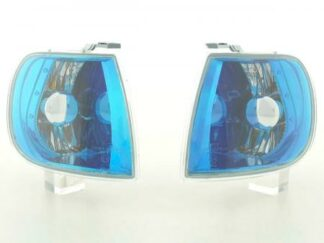VW Polo 6N Front Indicators Set Left + Right OS/NS 95-98 blue chrome pic1