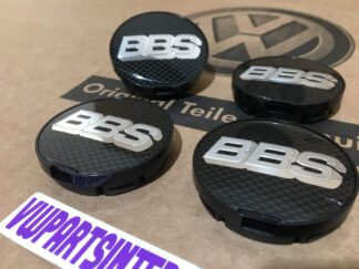 VW Golf MK3 GTI VR6 Vento BBS Wheel Centre Caps Set Black Chrome New Genuine NOS OEM VW Part