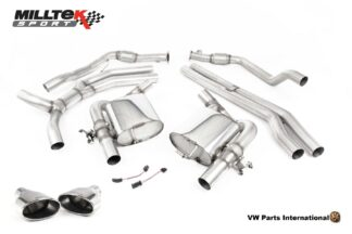Audi RS4 quattro B9 Milltek Sport Performance Non Resonated Race Cat Back Exhaust System Polished Oval Trims SSXAU752