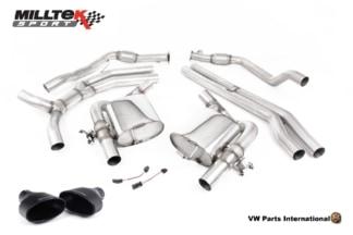 Audi RS4 quattro B9 Turbo Avant Milltek Sport Performance Non Resonated Race Cat Back Exhaust System Cerakote Black Oval Trims SSXAU751_1