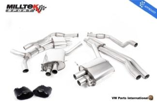 Audi RS4 quattro B9 Milltek Sport Performance Resonated Cat Back Exhaust System Cerakote Black Oval Trims EC Approved SSXAU750