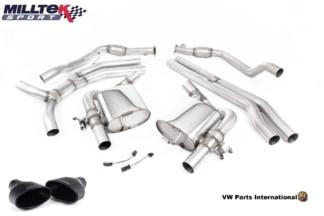 Audi RS5 B9 Turbo Coupe Milltek Sport Race Non Resonated Cat Back Exhaust System Cerakote Black Oval Trims SSXAU755