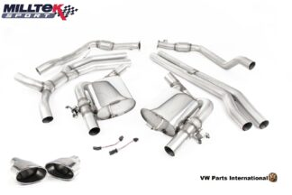 Audi RS5 B9 Turbo Coupe Milltek Sport Race Non Resonated Cat Back Exhaust System Polished Oval Trims SSXAU756