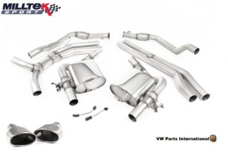 Audi RS5 B9 Turbo Coupe Milltek Sport Race Non Resonated Cat Back Exhaust System Titanium Oval Trims SSXAU811