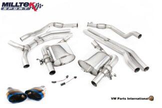 Audi RS5 B9 Turbo Coupe Milltek Sport Race Non Resonated Cat Back Exhaust System Burnt Titanium Oval Trims SSXAU812