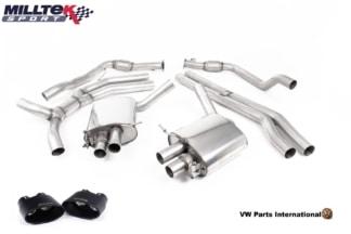 Audi RS5 B9 Turbo Coupe Milltek Sport Road+ Cat Back Exhaust System Cerakote Black Oval Trims SSXAU757
