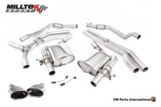 Audi RS4 quattro B9 Turbo Avant Milltek Sport Non Resonated Race Cat Back Exhaust System Titanium Oval Trims SSXAU803