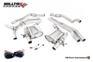 Audi RS4 quattro B9 Turbo Avant Milltek Sport Non Resonated Race Cat Back Exhaust System Burnt Titanium Oval Trims SSXAU804