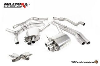 Audi RS4 quattro B9 Turbo Avant Milltek Sport Road+ Cat Back Exhaust System Polished Oval Trims SSXAU759
