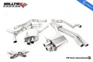 Audi RS4 quattro B9 Turbo Avant Milltek Sport Resonated Cat Back Exhaust System Polished Oval Trims EC Approved SSXAU749