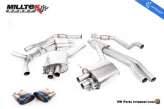 Audi RS4 quattro B9 Turbo Avant Milltek Sport Resonated Cat Back Exhaust System Burnt Titanium Oval Trims EC Approved SSXAU806_1