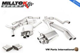 Audi RS4 quattro B9 Turbo Avant Milltek Sport Resonated Cat Back Exhaust System Titanium Oval Trims EC Approved SSXAU805_1