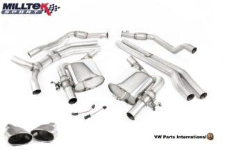 Audi RS5 quattro B9 2.9 V6 Turbo Coupe Milltek Sport Performance Non Resonated Race Cat Back Exhaust Titanium Oval Trims SSXAU851