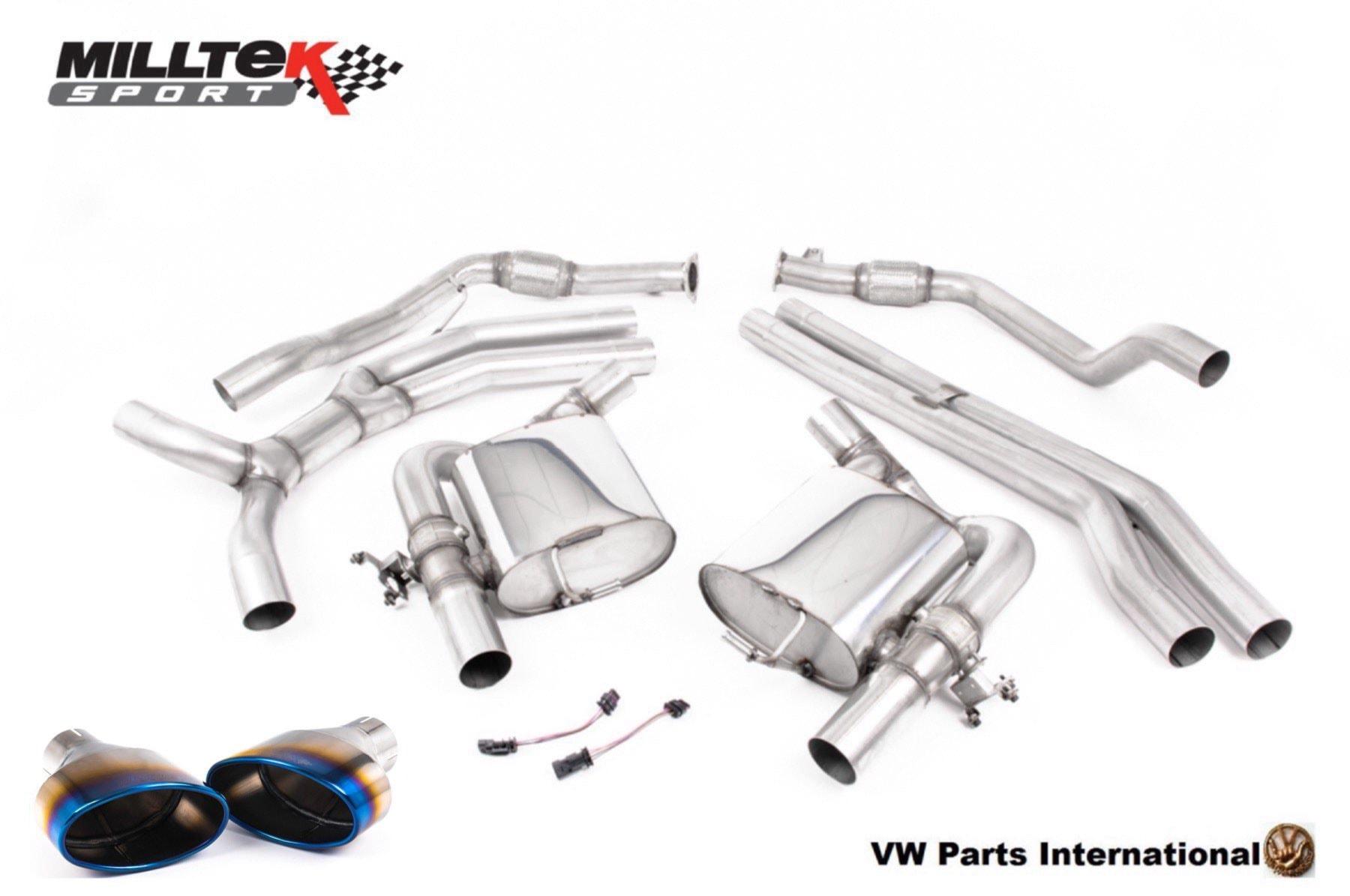 Audi RS4 RS5 quattro B9 2.9 V6 Turbo Milltek Sport Performance Non Resonated Cat Back Exhaust Burnt Titanium Oval Trims SSXAU832