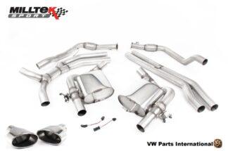 Audi RS4 RS5 quattro B9 2.9 V6 Turbo Milltek Sport Performance Non Resonated Cat Back Exhaust Polished Oval Trims SSXAU829