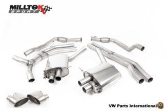 Audi RS4 quattro B9 2.9 V6 Turbo Milltek Sport Performance Resonated Road+ Cat Back Exhaust Titanium Oval Trims SSXAU827