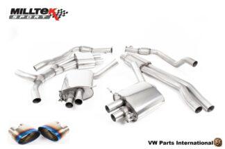 Audi RS4 quattro B9 2.9 V6 Turbo Milltek Sport Performance Resonated Cat Back Exhaust Burnt Titanium Oval Trims SSXAU824