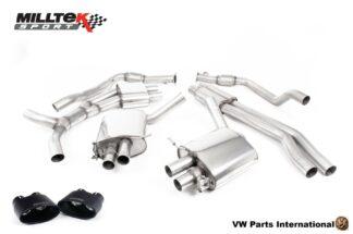 Audi RS4 quattro B9 2.9 V6 Turbo Milltek Sport Performance Resonated Cat Back Exhaust Cerakote Black Oval Trims SSXAU822