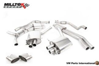 Audi RS4 quattro B9 2.9 V6 Turbo Milltek Sport Performance Resonated Cat Back Exhaust Titanium Oval Trims SSXAU823