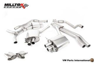 Audi RS4 quattro B9 2.9 V6 Turbo Milltek Sport Performance Resonated Cat Back Exhaust Polished Oval Trims SSXAU821