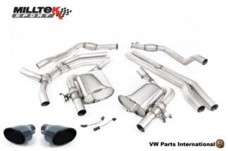 Audi RS4 RS5 quattro B9 2.9 V6 Turbo Coupe Milltek Sport Performance Non Resonated Race Cat Back Exhaust Cerakote Black Oval Trims SSXAU850