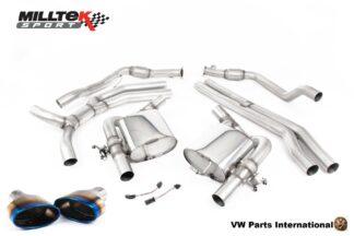 Audi RS5 quattro B9 2.9 V6 Turbo Coupe Milltek Sport Performance Non Resonated Race Cat Back Exhaust Burnt Titanium Oval Trims SSXAU852