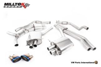 Audi RS5 quattro B9 2.9 V6 Turbo Coupe Milltek Sport Performance Resonated Cat Back Exhaust Burnt Titanium Oval Trims SSXAU844