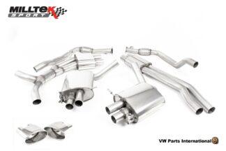Audi RS5 quattro B9 2.9 V6 Turbo Coupe Milltek Sport Performance Resonated Cat Back Exhaust Polished Oval Trims SSXAU841