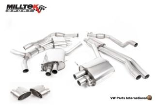 Audi RS5 quattro B9 2.9 V6 Turbo Coupe Milltek Sport Performance Resonated Cat Back Exhaust Titanium Oval Trims SSXAU843