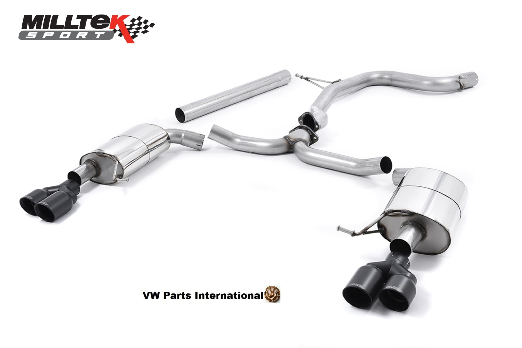 Seat Leon Cupra ST 280 290PS Milltek Sport Non Resonated Cat Back Exhaust System Quad Round Cerakote Black Tips SSXSE175