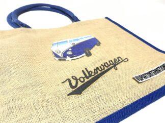 Volkswagen Camper Splitty Van Tote Jute Shopping Bag Lady VW Man Bag Blue Owners Collectors Gift