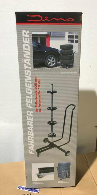 "Mobile Wheel Storage Stand VW Audi Seat Skoda Portable Rim Tyre Tower Upto 18"" x 225mm Wheels"