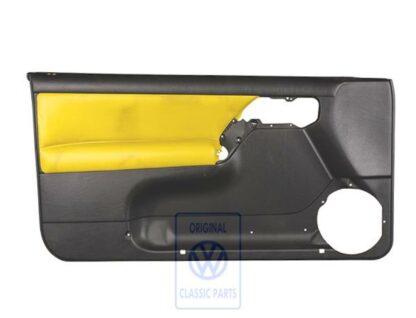 VW Golf MK3 3.5 Cabrio Left Door Trim Panel Black Futura Yellow Leather Leatherette Genuine OEM NOS Part