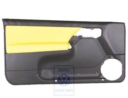 VW Golf MK3 Cabrio Left Door Trim Panel Black Yellow Leather Leatherette Genuine OEM NOS VW Part 1E0867011APEAH