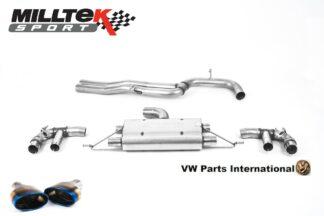 Audi RS3 Sportback 400PS Milltek Sport 80mm Non Resonated Cat Back Exhaust System Burnt Titanium Oval Trims SSXAU887