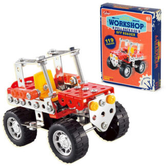 Kids Junior Engineer Workshop Pull Back and Go Off Roader 119 pcs Model Car Building Kit Toy Gift