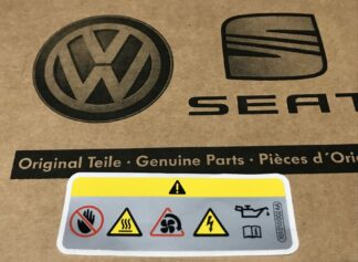 VW Audi Engine Bay Warning Sticker Hot Engine Parts Fan Danger Service Decal Emblem Logo Sticker Genuine OEM Part 701010002AA